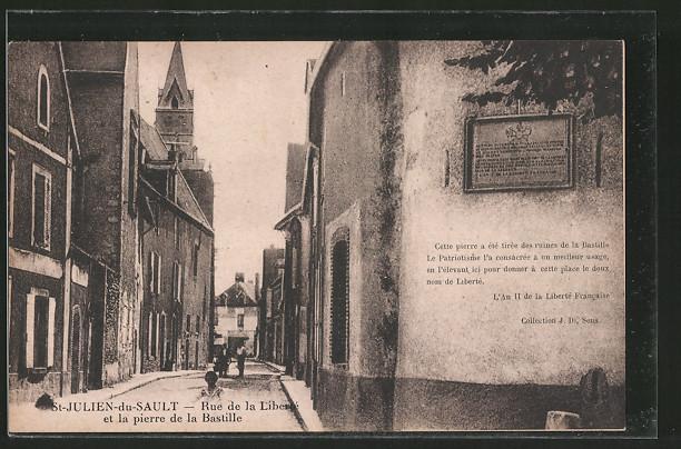 AK St-Julien-du-Sault, rue de la Liberté et la pierre de la Bastille