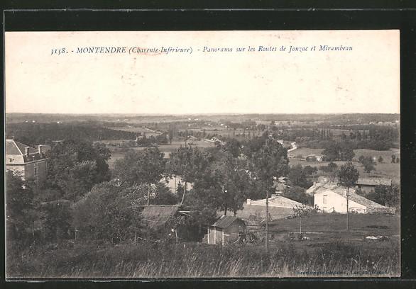 AK Montendre, vue générale sur les routes de Jonzac et Mirambeau