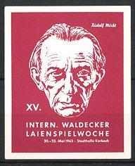 Reklamemarke Waldeck, XV. internationale Waldecker Laienspielwoche 1963, Männer-Porträt