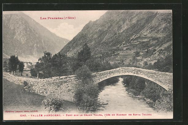 AK Santa Coloma, Brücke über den Grand Valira ausserhalb des Ortes