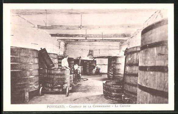 AK Pommard, Chateau de la Commaraine, la cuverie, Weinlagerung
