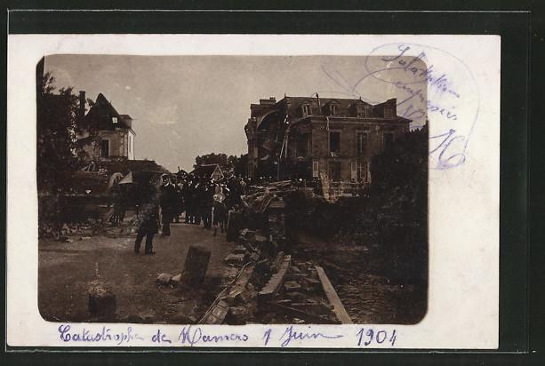 AK Mamers, zerstörte Häuser nach dem Unwetter 1904