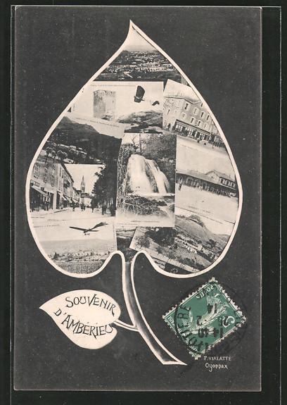 AK Ambérieu, Blatt-Passepartout mit Collage von Ansichtskartenmotiven