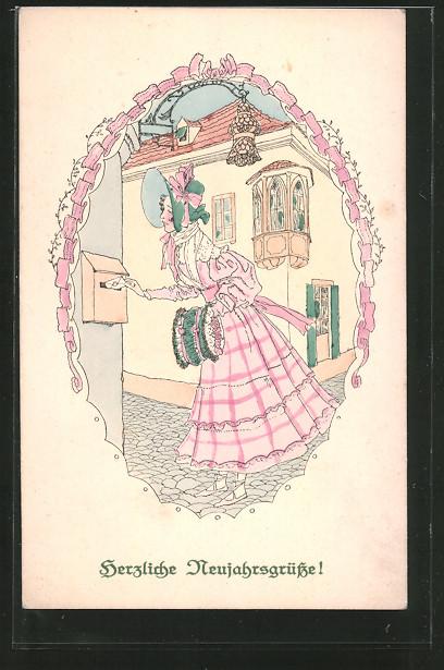 AK Herzliche Neujahrsgrüsse, Junge Frau steckt einen Brief in den Briefkasten
