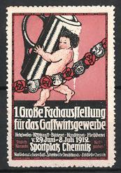Reklamemarke Chemnitz, Ausstellung für das Gastwirtsgewerbe 1912, Putte schleppt Bierkrug