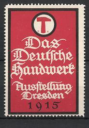 Reklamemarke Dresden, Das Deutsche Handwerk 1915, Wappen mit Hammer
