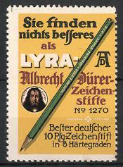Reklamemarke Lyra, Albrecht Dürer Zeichenstift, Bleistift, Portrait Albrecht Dürer