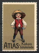 Reklamemarke Atlas Kakao und Schokolade, Knabe mit Hut & Tafeln Schokolade, gold