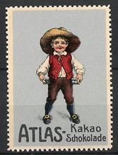 Reklamemarke Atlas Kakao und Schokolade, Knabe mit Hut & Tafeln Schokolade, silber