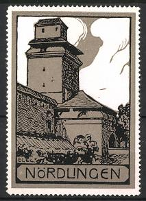 Reklamemarke Nördlingen, Partie an der Stadtmauer
