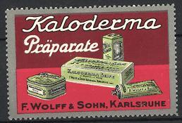 Reklamemarke Karlsruhe, Kaloderma Präparate, F. Wolff & Sohn, verschiedene Seifen