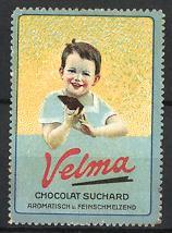 Reklamemarke Velma Chocolat Suchard, Knabe isst Tafel Schokolade