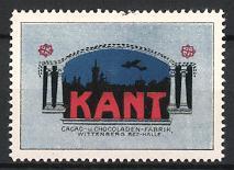 Reklamemarke Wittenberg, Kant Kakao & Schokolade, Flugzeug & Stadtsilhouette