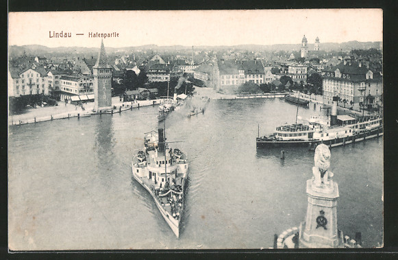 AK Lindau, Blick auf den Hafen