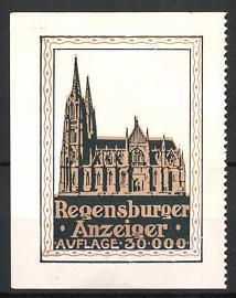 Reklamemarke Regensburg, Tageszeitung Regensburger Anzeiger, Dom St. Peter
