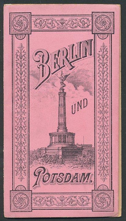 Leporello-Album Berlin & Potsdam, mit 14 Lithographie-Ansichten, Synagoge, Reichsbank, Einband mit Siegessäule