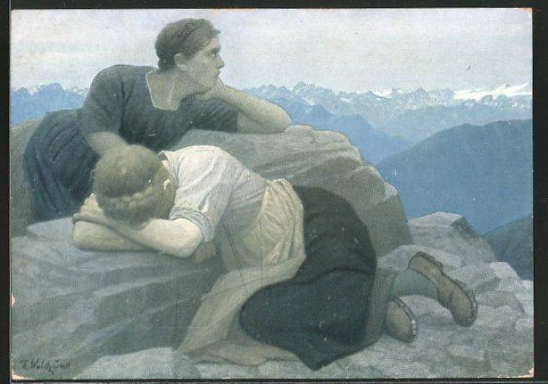 Künstler-AK Thomas Walch: Frauen liegen auf einem Felsen