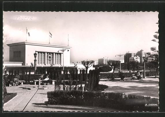 AK Tanger, Bahnhof, la Gare et les jardins de l'avenue d'Espagne