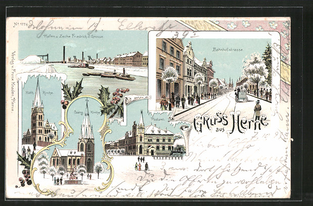 Winter-Lithographie Herne, Postamt, Hafen u. Zeche Friedrich der Grosse, Ev. Kirche, Pferdekutsche, Eisenbahn