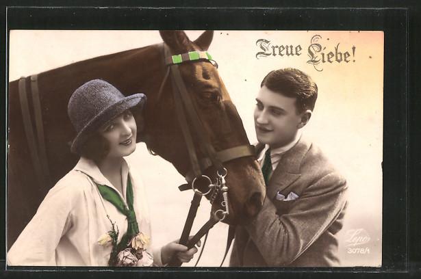 AK Treue Liebe!, mondänes Paar mit Pferd