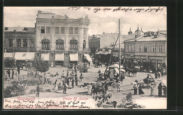 AK Bucuresti, Peata Sf. Antón, Marktszene, Pferdegespann