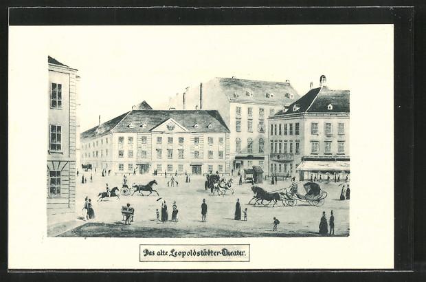 Künstler-AK Wien, Musik und Theaterfest 1924, Partie am alten Leopoldstädter Theater