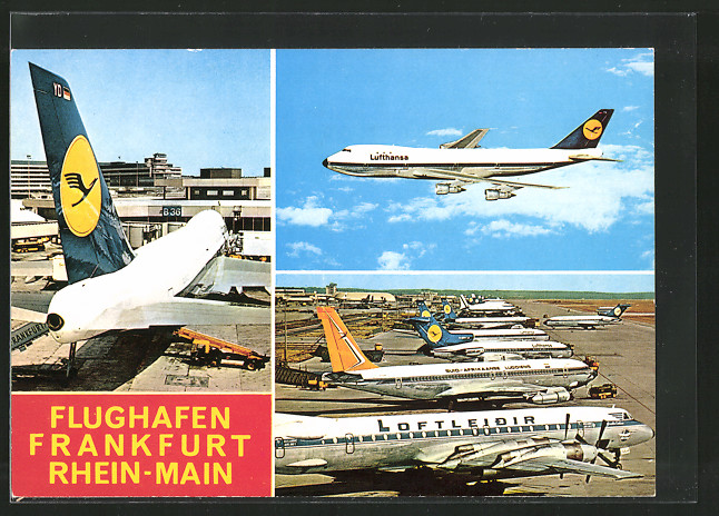 AK Frankfurt, Flugzeuge der Lufthansa und der Suid-Afrikaanse Lugdiens auf dem Flughafen