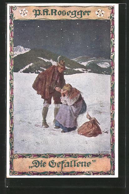 Künstler-AK Ernst Kutzer: P. K. Rosegger, Die Gefallene, Paar im Schnee