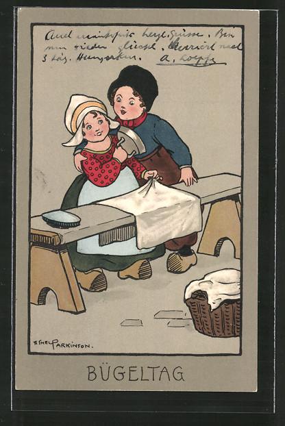 Künstler-AK Ethel Parkinson: Bügeltag, niederländische Kinder bügeln mit einem Bügeleisen die Wäsche