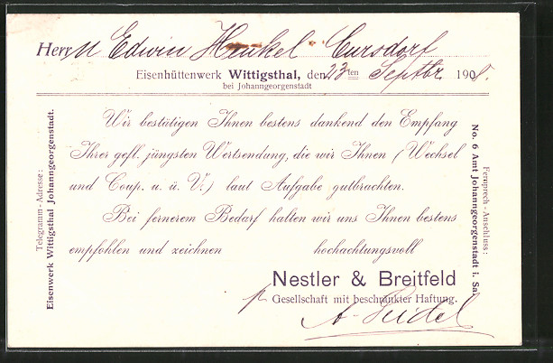AK Wittigsthal, Eisenhüttenwerk Nestler & Breitfeld GmbH
