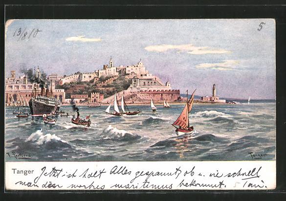 Künstler-AK Friedrich Perlberg: Tanger, Blick zum Ort, Dampfer, Segelboote