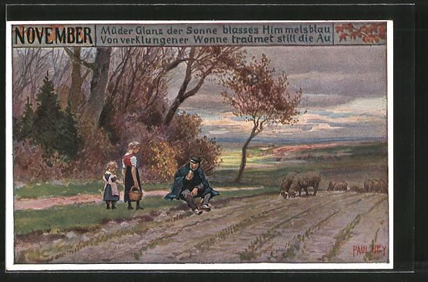 Künstler-AK Paul Hey: Monats-Serie: Dezember, Müder Glanz der Sonne, Familie mit Schafen