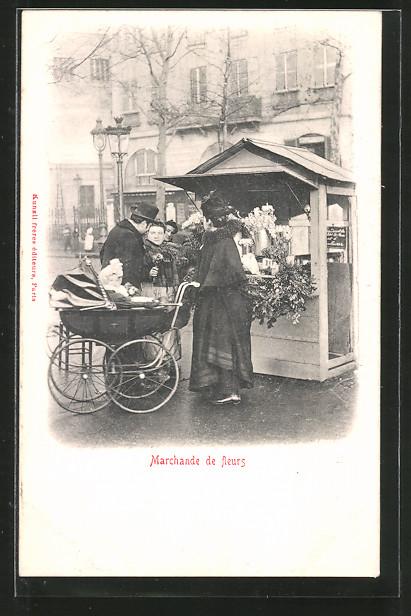 AK Paris, Marchande de fleurs, Blumenverkäuferin