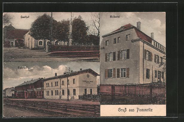 AK Pommritz, Bahnhof, Gasthof, Molkerei