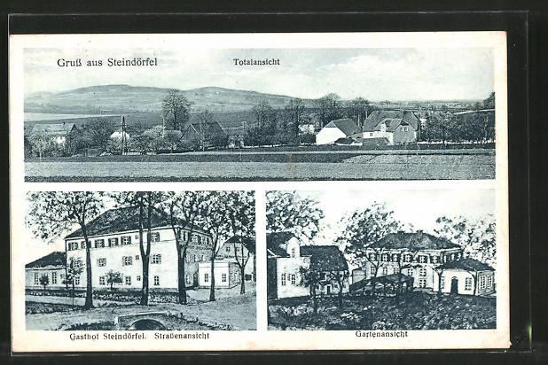 AK Steindörfel, Gasthof v. H. Hoffmann mit Gartenlokal, Totalansicht