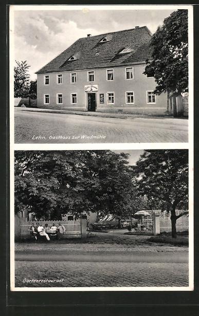 AK Lehn, Gasthaus zur Windmühle mit Gartenlokal