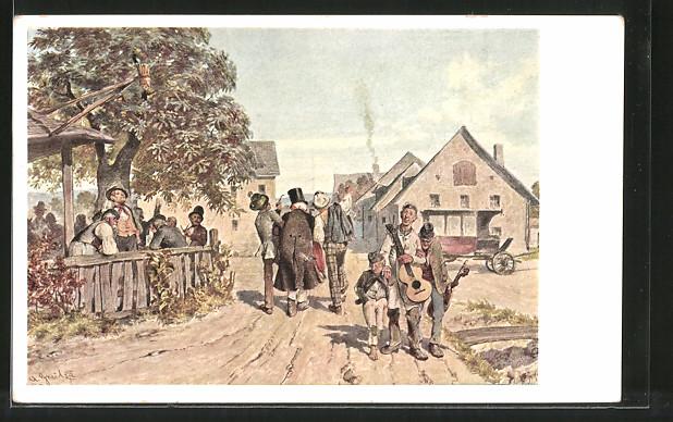 Künstler-AK Alois Greil: das lustige und das traurige Kleeblatt, Bauern mit Instrumenten