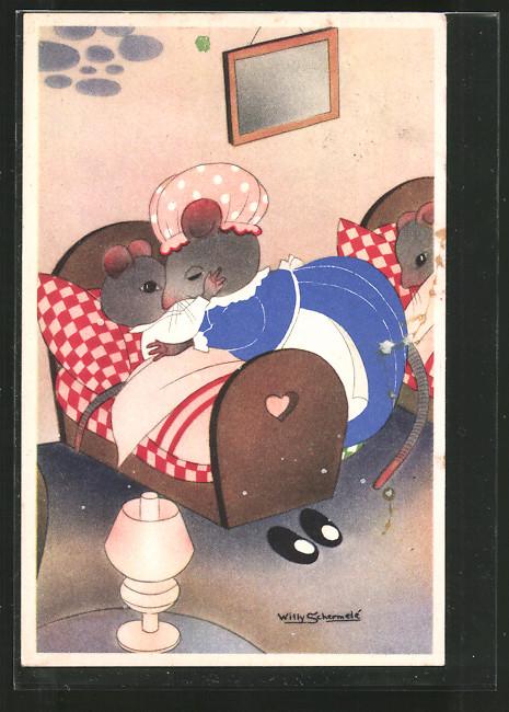 Künstler-AK Willy Schermele: De Muizenvijfling, Mäusemutter bringt Kind in's Bett