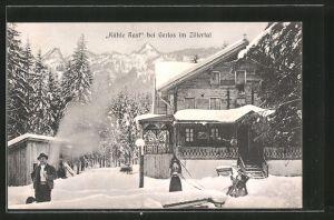 AK Gerlos, Gasthaus Kühle Rast im Winter