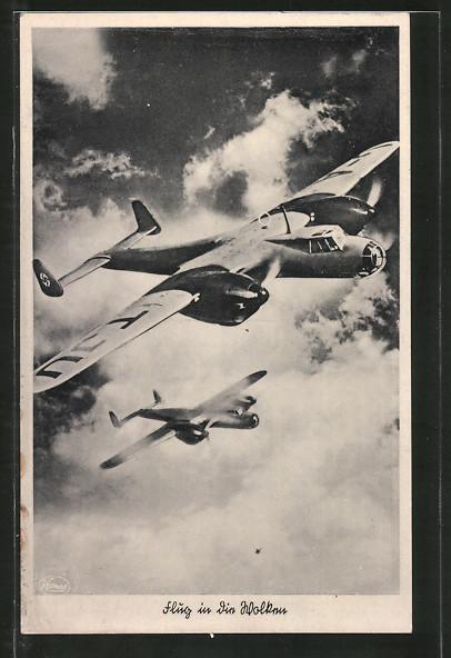 AK Unsere Luftwaffe, Kampfflugzeuge Dornier Do 17 über den Wolken