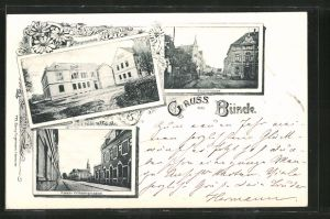 AK Bünde, Bürgerschule, Eschstrasse, Kaiser Wilhelm-Strasse