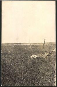 Fotografie 1.WK, Ostfront, gefallene Russen liegen auf einem Schlachtfeld