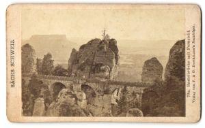 Fotografie Verlag F. & O. Brockmann's Nachfolger, Ansicht Sächsische Schweiz, Basteibrücke