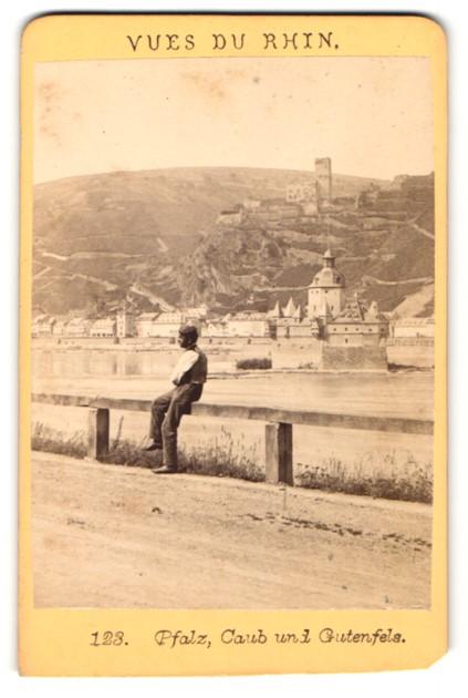 Fotografie unbekannter Fotograf, Ansicht Pfalz, Caub und Gutenfels