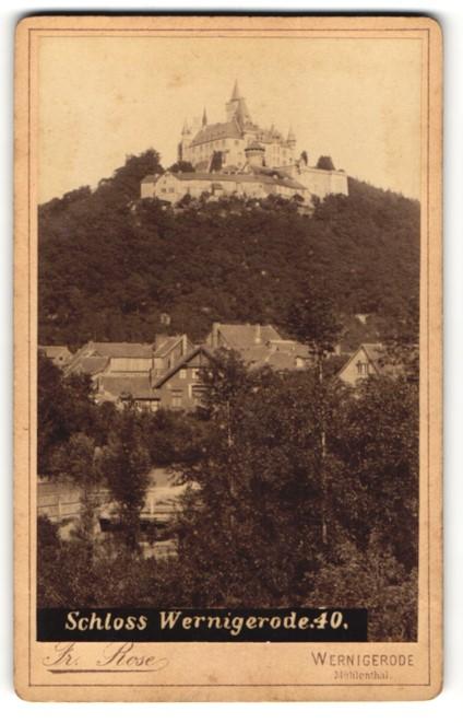 Fotografie Fr. Rose, Wernigerode, Ansicht Wernigerode, Blick zum Schloss