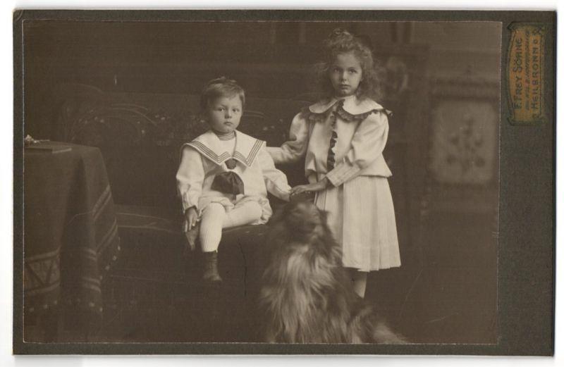 Fotografie F. Frey Söhne, Heilbronn, Portrait Knabe und Mädchen mit Hund