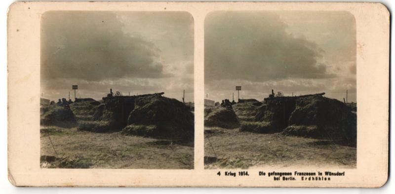 Stereo-Fotografie unbekannter Fotograf und Ort, Ansicht Wünstorf, Krieg 1914, Die gefangenen Franzosen, Erdhöhlen