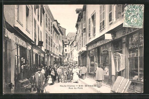 AK St-Yrieix, Rue du Pont, Strassenpartie im Zentrum
