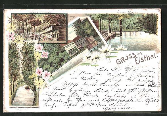 Lithographie Luckenwalde, Gasthaus Elsthal, Partien der Badeanstalt