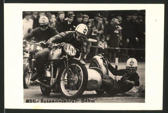 Fotografie Motorrad NSU, Rennfahrer Böhm Motorrad-Rennen mit Seitenwagen, Gespann Startnummer 40